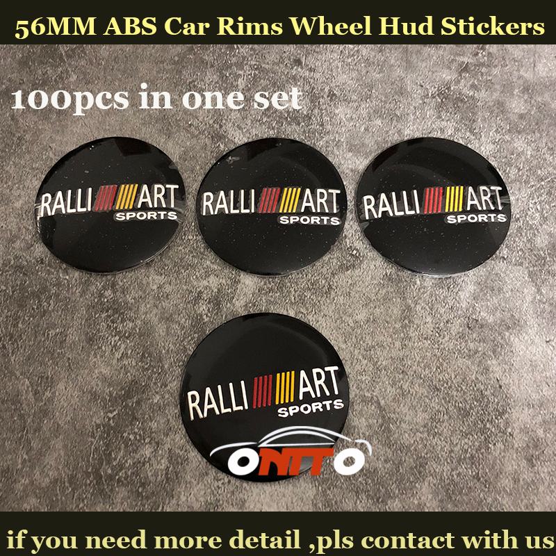 100pcs/set 56MM Car Wheel hub Stickers for Mitsubishi Ralliart Lancer 10 9 EX Eclipse Car Wheel center Covers logo Badge Emblem