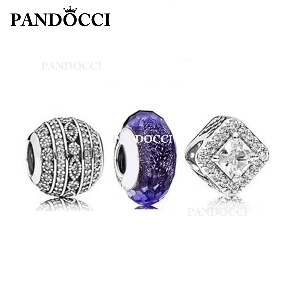 PANDOCCI 100% 925 Sterling Silver Geometric Zircon Beads Night Sky Glass Bead Set Womens Vintage Wedding Jewelry CollectionPANDOCCI 100% 925 Sterling Silver Geometric Zircon Beads Night Sky Glass Bead Set Womens Vintage Wedding Jewelry Collection