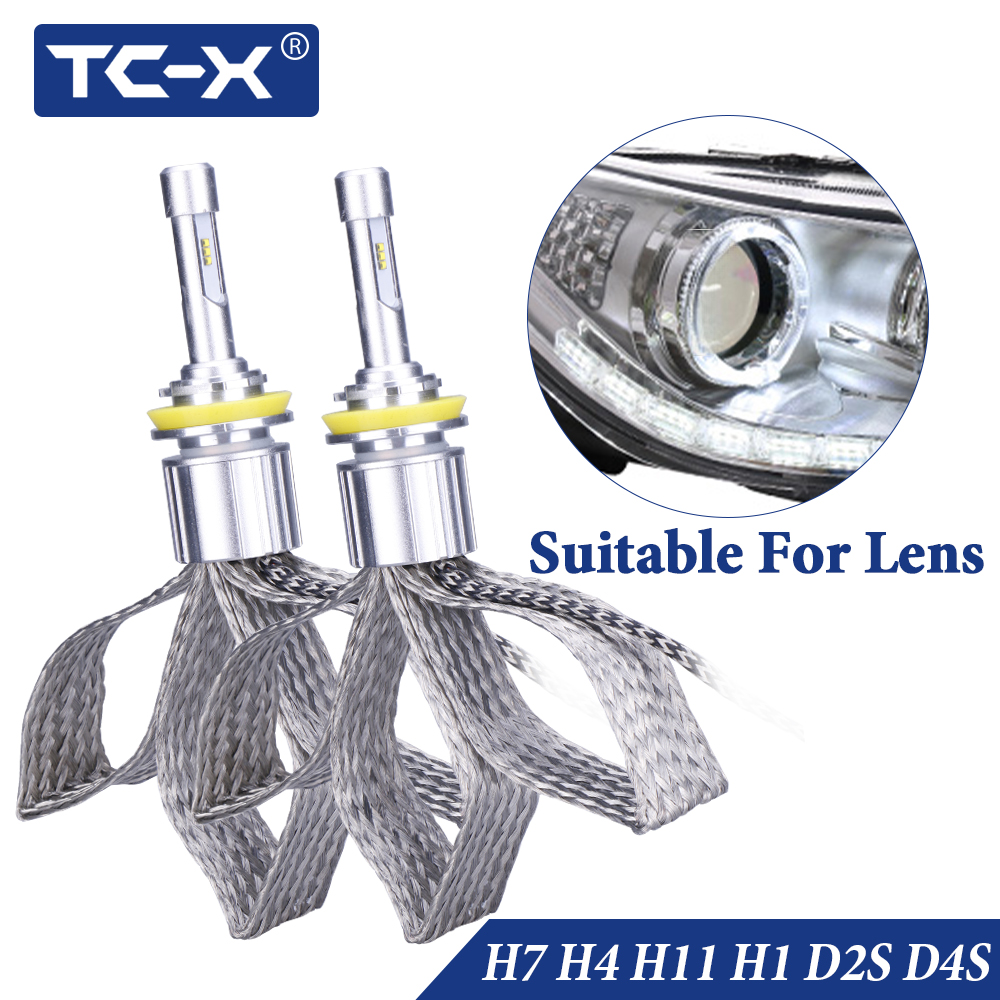 TC-X D2S H7 H11 led lamp light H1 H3 Headlight for car 12v ice ptf D2S D4S diode lamps with Luxeon ZES chip bulbs autos products image
