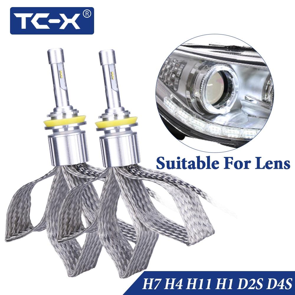 TC-X H4 H7 H11 led lamp licht H1 H3 Koplamp voor auto 12 v 9005 9006 D2S D4S diode lampen met Luxeon ZES chip lamp auto producten