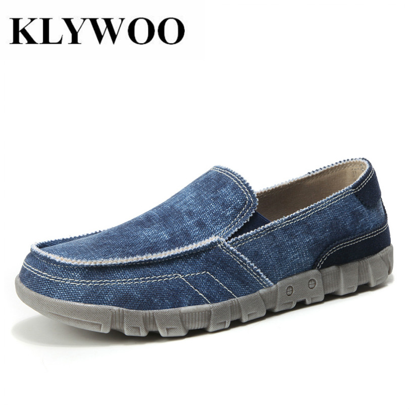 KLYWOO grande taille 39-48 Toile Hommes Chaussures Denim Marque Mens chaussures décontractées Mode Sneakers mocassins respirants pour Hommes chaussures pour homme