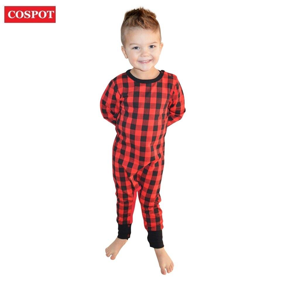 COSPOT Baby Girls Boys Christmas Romper Newborn Red Plaid Jumpsuit Kids Christmas Pajamas Jumper 0-2Yrs 2018 New Arrival D40