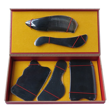 New Arrival superfine 100% Natural black ox horn comb guasha plate fish and wave shaped 5pcs/set face body guasha tool 0033