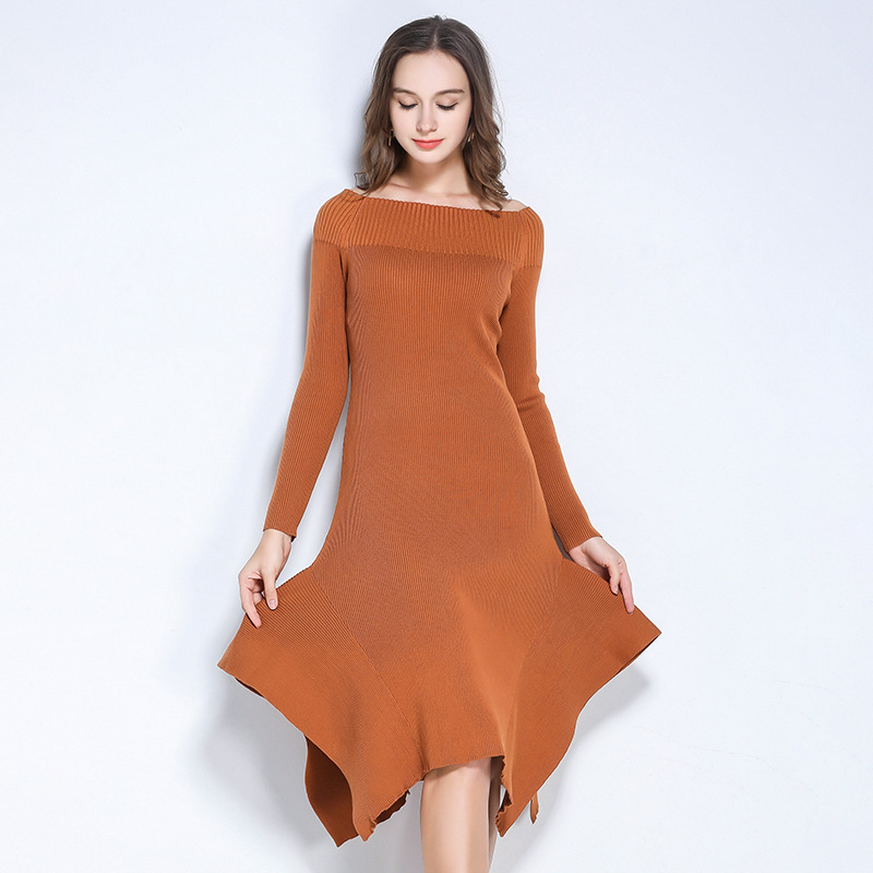 2017 autumn winter elastic knitted women dress fashion all match long sleeve slash neck pure color