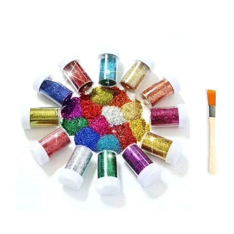 12 Color/bottles Handmade Materials Children DIY Drawing Art Sets Children's Painting Colorful Gold Powder Glitter Art Supplies