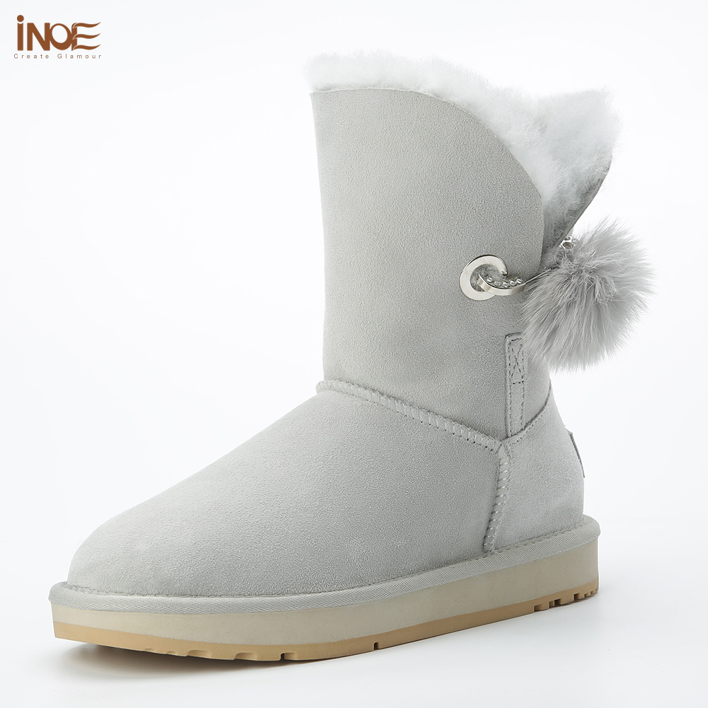 2018 New style real sheepskin leather fur lined women winter snow boots with rhinestone and fur pom-pom brooch winter shoes grey2018 New style real sheepskin leather fur lined women winter snow boots with rhinestone and fur pom-pom brooch winter shoes grey
