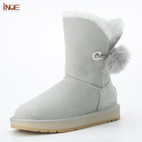 2018 New style real sheepskin leather fur lined women winter snow boots with rhinestone and fur pom pom brooch winter shoes grey