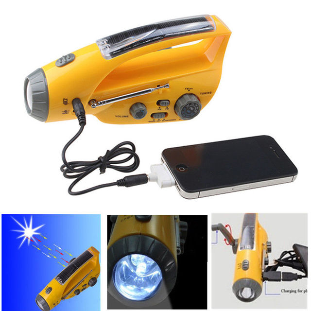 Hand Crank Solar Self-Powered Dynamo AM/FM Radio Receiver with LED Flashlight Cell Phone Charger Digital Build-in 800mAh Battery