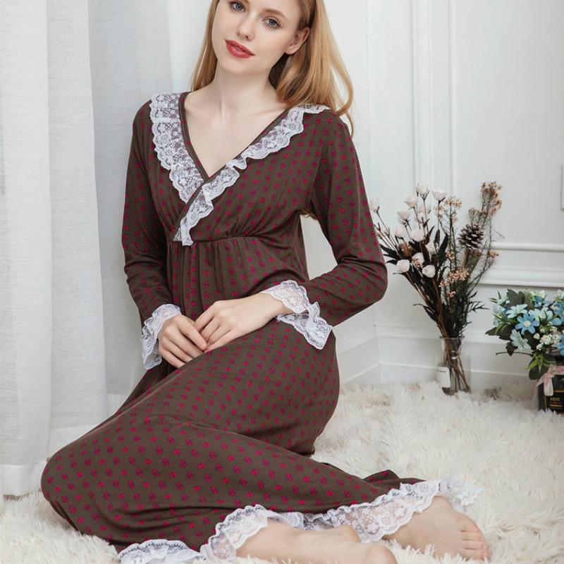Female Autumn And Winter Long Sleeve Women Sleepwear Modal Lingerie Nightgown Removable Breast Pad Princess Sleeping Skirt