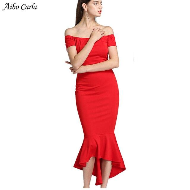 06e9016812 Sexy Off Shoulder Women Dress 2018 New Fashion Fishtail Summer Party Dress  Red Black Bodycon Midi Dress Evening Long Dress