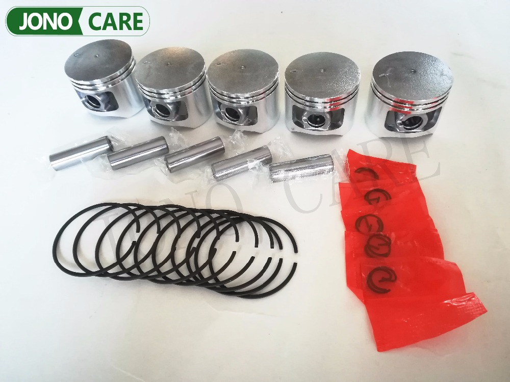 5 sets 5200 52cc chainsaw piston kit full set for Komatsu chain saw cylinder piston ring dia 45mm manufacturers 5200 chainsaw cylinder assy cylinder kit 45 2mm parts for chain saw 1e45f on sale