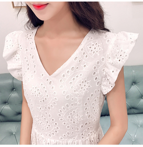 Image 5 - YiLin Kay 2020 High end custom  Heavy industry hollow out water soluble lace dress V NeckEmbroidered white party dresses