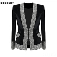 2018 Elegant Blazer Women Clothes Luxury Brand Rhinestones V Neck White Black Blazer Feminino Office Lady Crystal Long Outfit
