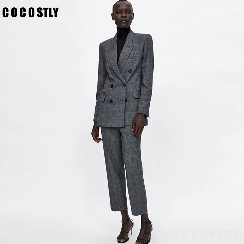 Women Suit Casual Plaid Two Pieces Sets Pant Suits 2019 Autumn Double Brested Blazers Coats And Pants Female Pant Suits Clothes