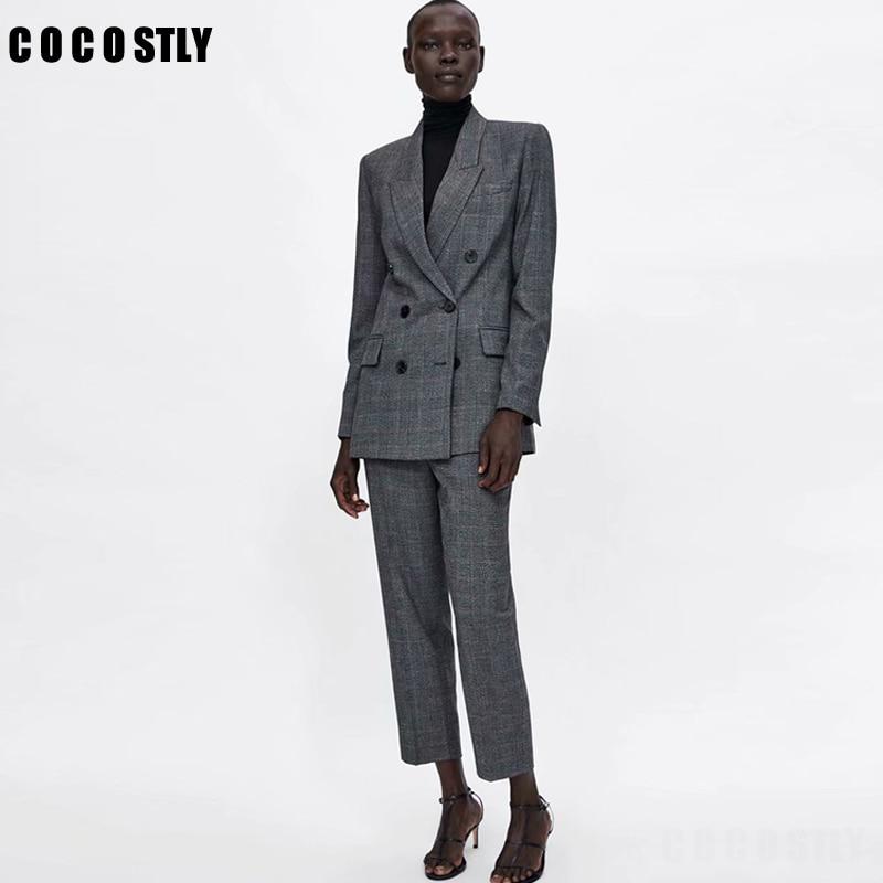 Women Suit Casual Plaid Two Pieces Sets Pant Suits 2019 Autumn Double Brested Blazers Coats And Pants Female Pant Suits Clothes