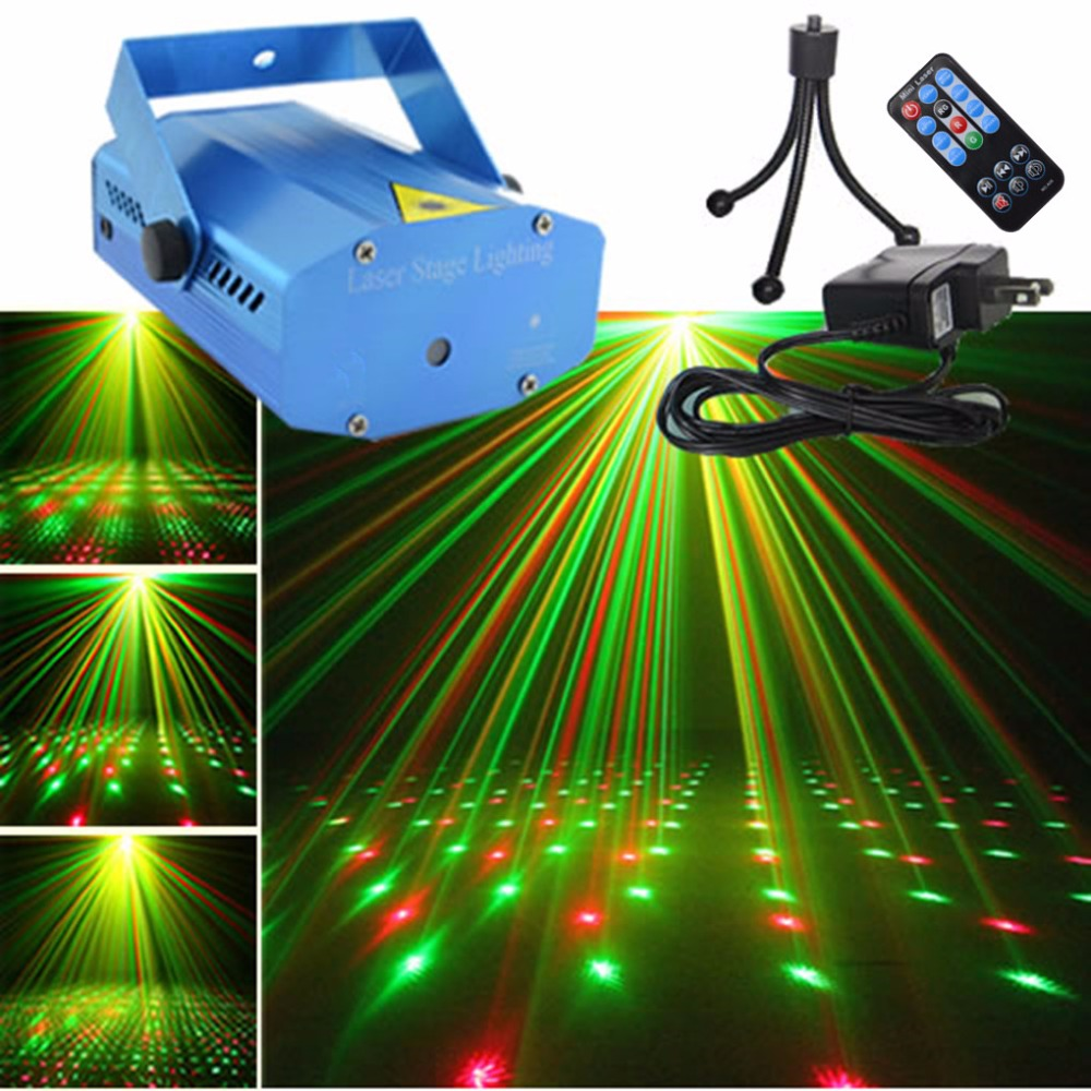 AUCD Mini Portable IR Remote RG Meteor Laser Projector Lights DJ KTV Home Xmas Holiday Party Dsico Show Stage Lighting Blue OI-U