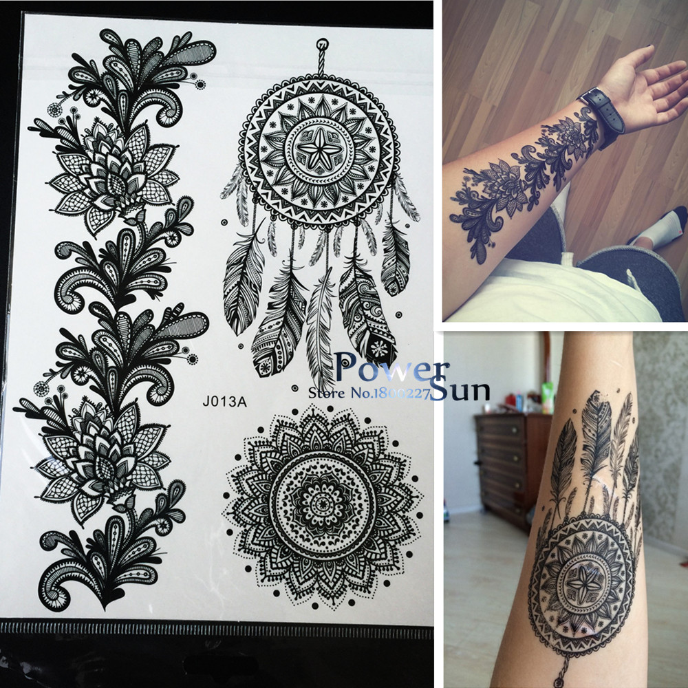 1PC Hot Dreamcatcher Large Indian Sun Flower Henna Temporary Tattoo Black Mehndi Feather Style Waterproof Tattoo