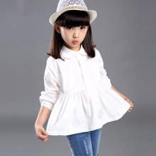 2015 new design spring autumn cotton loose top shirt for girls white blouse princess pattern long sleeve clothing top quality
