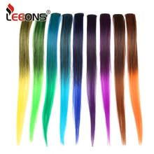 Leeons-extensiones de cabello Raiinbow, Clip en una pieza, pelo sintético liso, 18 pulgadas, largo degradado, rosa, púrpura, rojo y azul