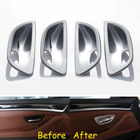 4pcs Set ABS Car Interior Matte Silver Door Handle Bowl Cover Trim Decal Stickers Fit For