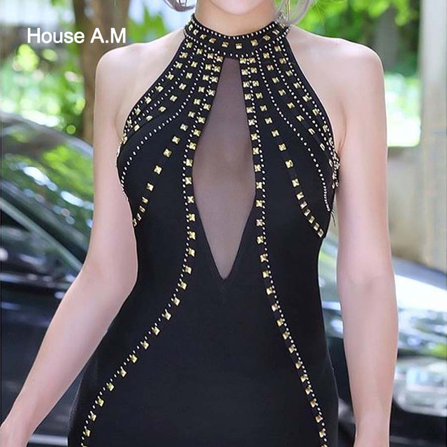 Dress Women Beading Halter Neck Backless Elastic Short Party Dresses Mesh Patchwork Bodycon Sexy Shiny Dress Night Club Dress