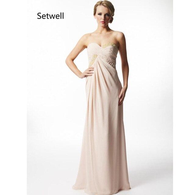 Setwell 2017 Einfache Chiffon Kleid Brautjungfer Trägerlose Backless ...