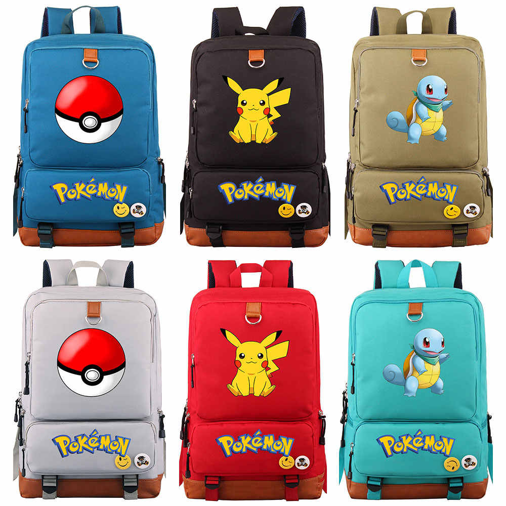 Cartoon Anime Squirtle Pikachu Charmander Boy Girl School bag Women Bagpack Teenagers Schoolbags Canvas Men Student Backpack