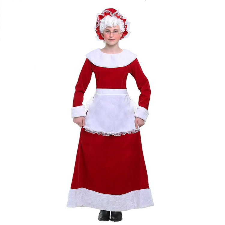 Hot Party Cosplay Costume Luxury Christmas Set Children Girl Santa Claus Beauty Costume Hiqh quality