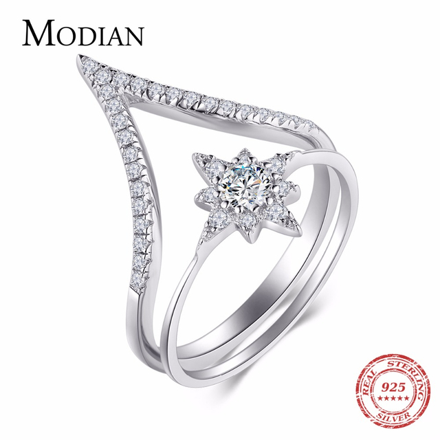Modian 100% 925 Sterling Silver Water Drop Sunflower Rings Fashion Simple Clear CZ Arrows Rings For Women Party Wedding Jewelry