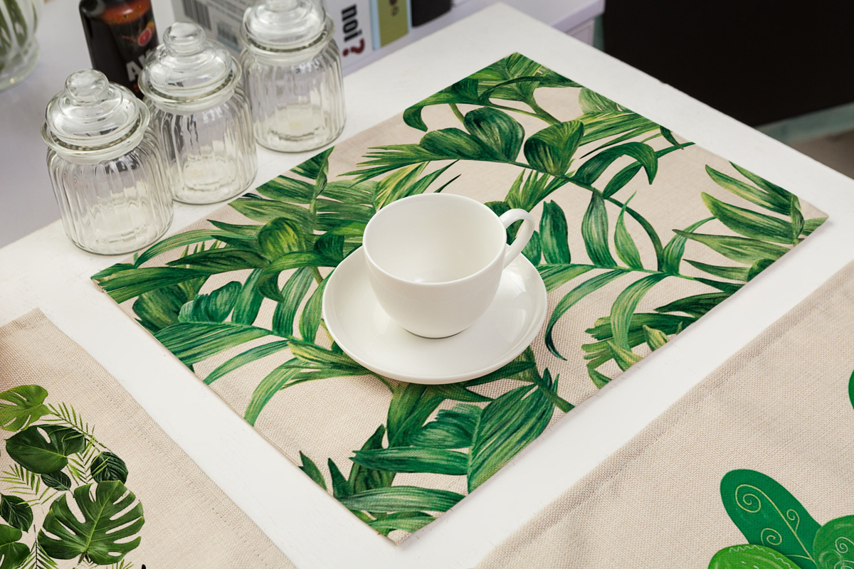 Creative Green Leaf Printed Insulation Placemats Coasters Western Table Mats
