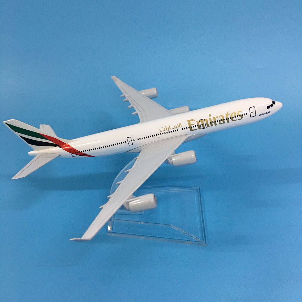 JASON TUTU Aircraft Model Diecast Metal 1:400 16cm Plane Model Airplane Model Emirates Airbus A340 Airplanes Model Plane Toy Gif