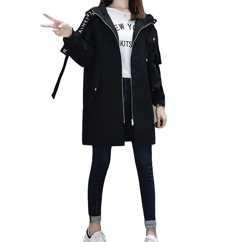 Large Size Women Medium Long   Trench   Coat 2019 Spring Autumn New Fashion Loose Female Hooded Casual Windbreaker Solid Color Q55