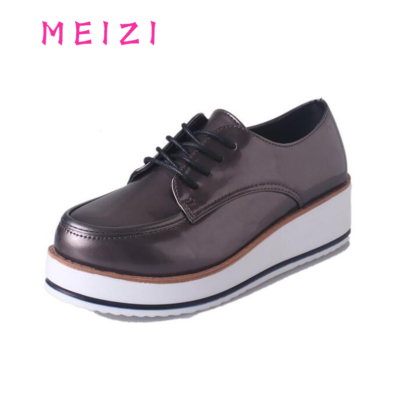 New 2017 Women Casual Shoes Spring Autumn Women Flats Fashion Round Toe Loafers Shoes Lace-Up Female Leather Shoes