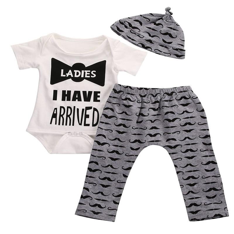 7de408a46cb2 3 Pcs Newborn Kids Baby Boy Bowtie Outfit Set Infant Babies ...