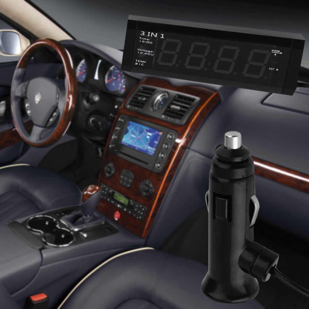 سيارة 3 في 1 12 فولت/24 فولت الرقمية السيارات سيارة ميزان الحرارة + سيارة الجهد متر فاحص مراقب + شاشة الكريستال السائل ساعة الساخن بيع