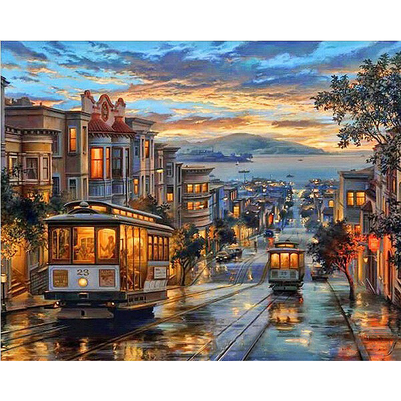 Northbound Trolley Hand Made Paint High Quality Canvas Beautiful Painting By Numbers Surprise Gift Great Accomplishment,