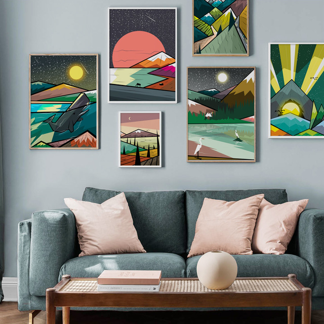 Abstract Mountain Forest whale Landscape Nordic Posters And Prints Wall Art Canvas Painting Wall Pictures For Living Room Decor