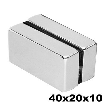 1PCS 40x20x10 Strong Neodymium Magnet N35 NdFeB Super Powerful Small Block Magnetic Fridge Magnets Cubiod 40mm x 20mm x 10mm image
