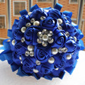 Custom Handmade Sapphire Blue Ribbon Bouquet Decorative Silk Rose flower Bride Bridal Crystal Wedding Bouquets