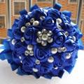 Custom Handmade Sapphire Blue Ribbon Rose de Seda de flores Nupcial Novia Crystal Ramos De La Boda Ramo Decorativo