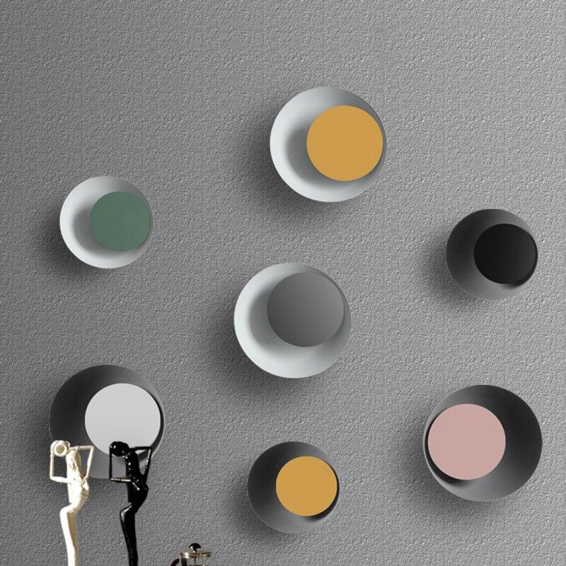 Nordique simple moderne salon salle à manger créatif chambre couleur ronde macaron eclipse LED lampe murale rotative