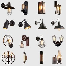 BOKT Iron Vintage Wall Lamp Loft Black Lampshade Wall Light Fixture Metal Cage Wall Sconces For Kitchen Hallway Free Shipping antique rustic iron waterproof outdoor wall lamp vintage kerosene lantern light rusty matte black corridor hallway wall light