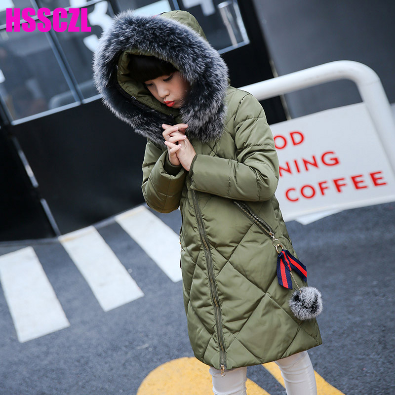 HSSCZL Girls Down Jacket Winter Thickened 2017 Brand O-neck Hooded Long Children Outerwear Overcoat parkas Girl coat clothes a15 girls down jacket 2017 new cold winter thick fur hooded long parkas big girl down jakcet coat teens outerwear overcoat 12 14