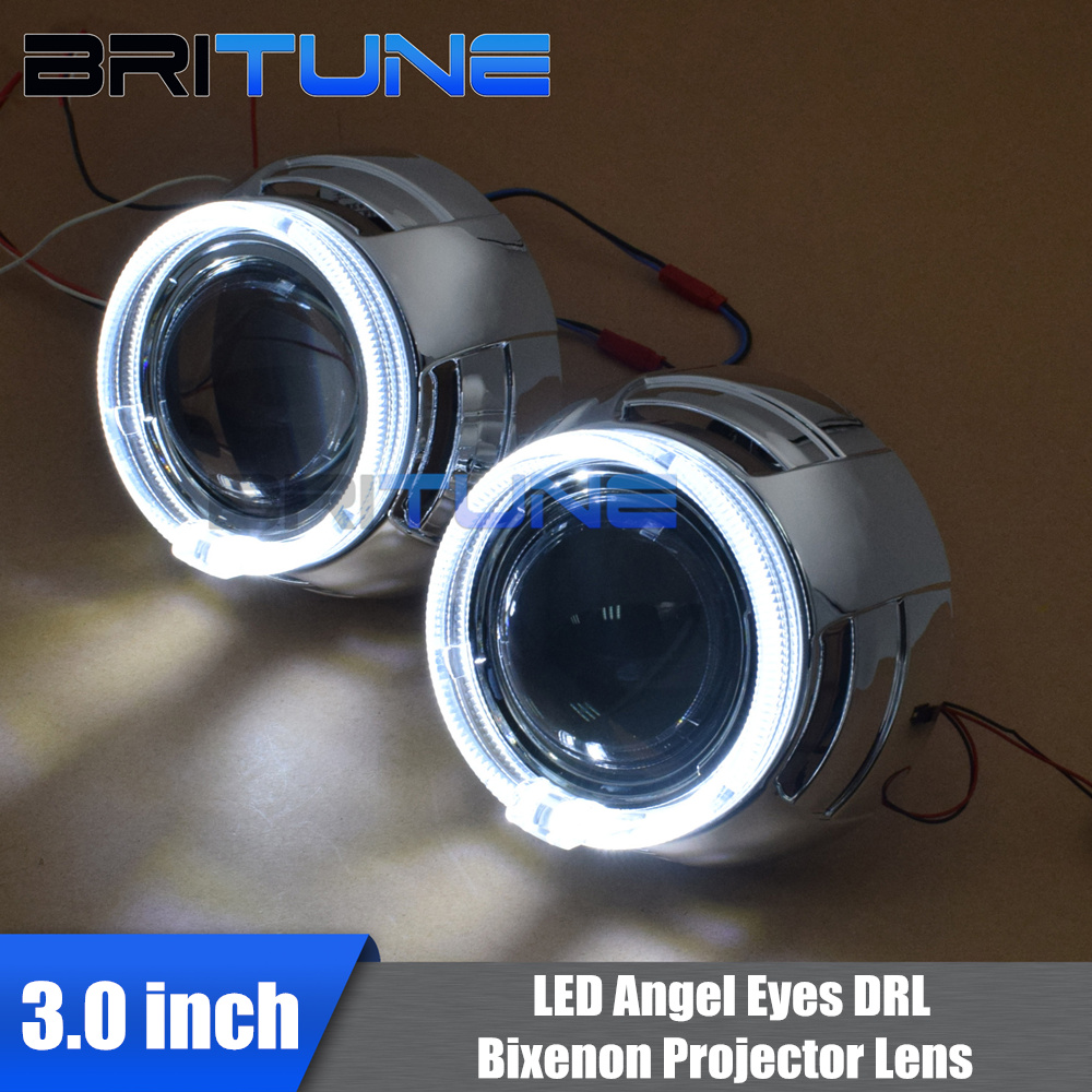 3 0 Super Bi xenon Projector Lens With LED Fiber Optic Angel Eyes DRL For H4