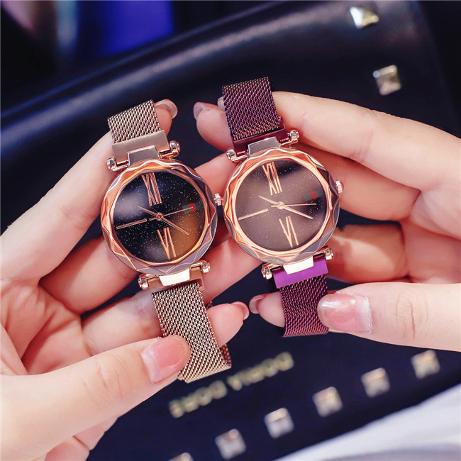 Smart Gold Fashion Luxury Rose Waterproof Female Wristwatch sky Magnet Roman Numeral 1