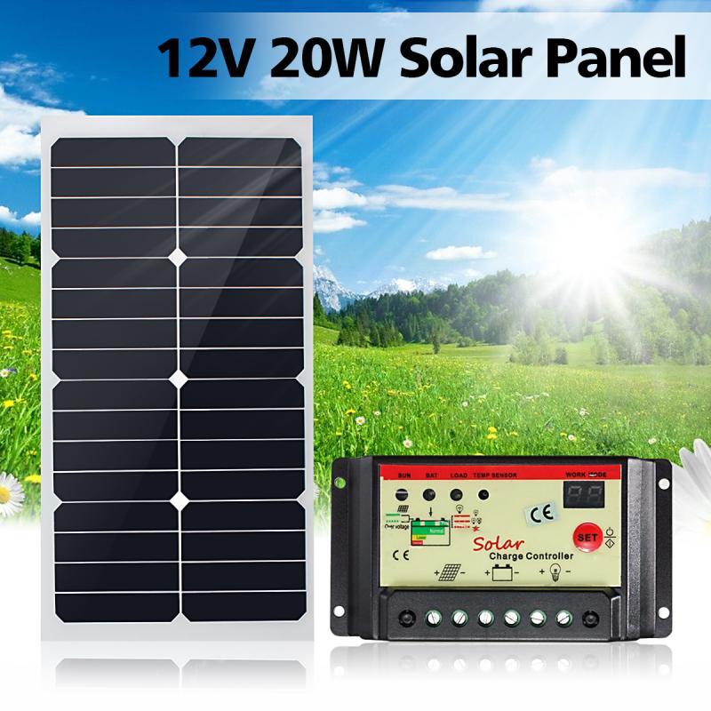 KINCO 20W 12V Solar Panel Semi Flexible Solar Cells Charger Sunpower Monocrystalline For Car RV Smart Phone Battery Charger