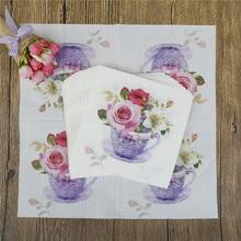 20 шт./лот цветочный цветок тема бумажные салфетки, носовые платки салфетки украшение в технике декупажа праздничные вечерние поставки 33x33 см