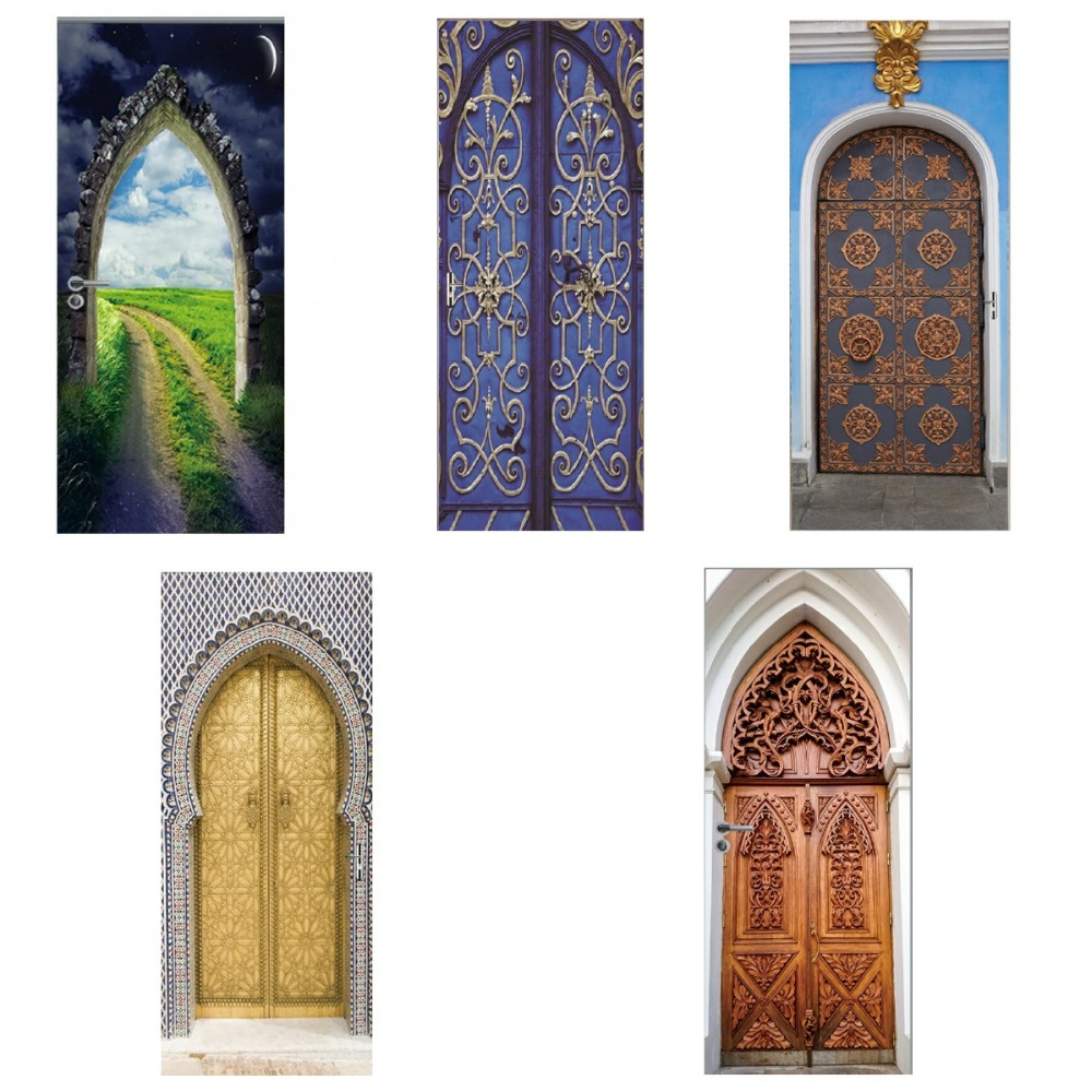3D Ethnic Style Fake Door Door Stickers Waterproof Removable DIY Self Adhesive Wall Decals Home Bedroom Background Wall Decor-in Wall Stickers from Home & Garden