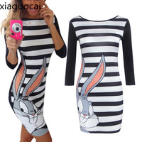 Plus Size 3xl Cute Cartoon Character Women Slim Dress Autumn Striped Knee Length A Line Sexy