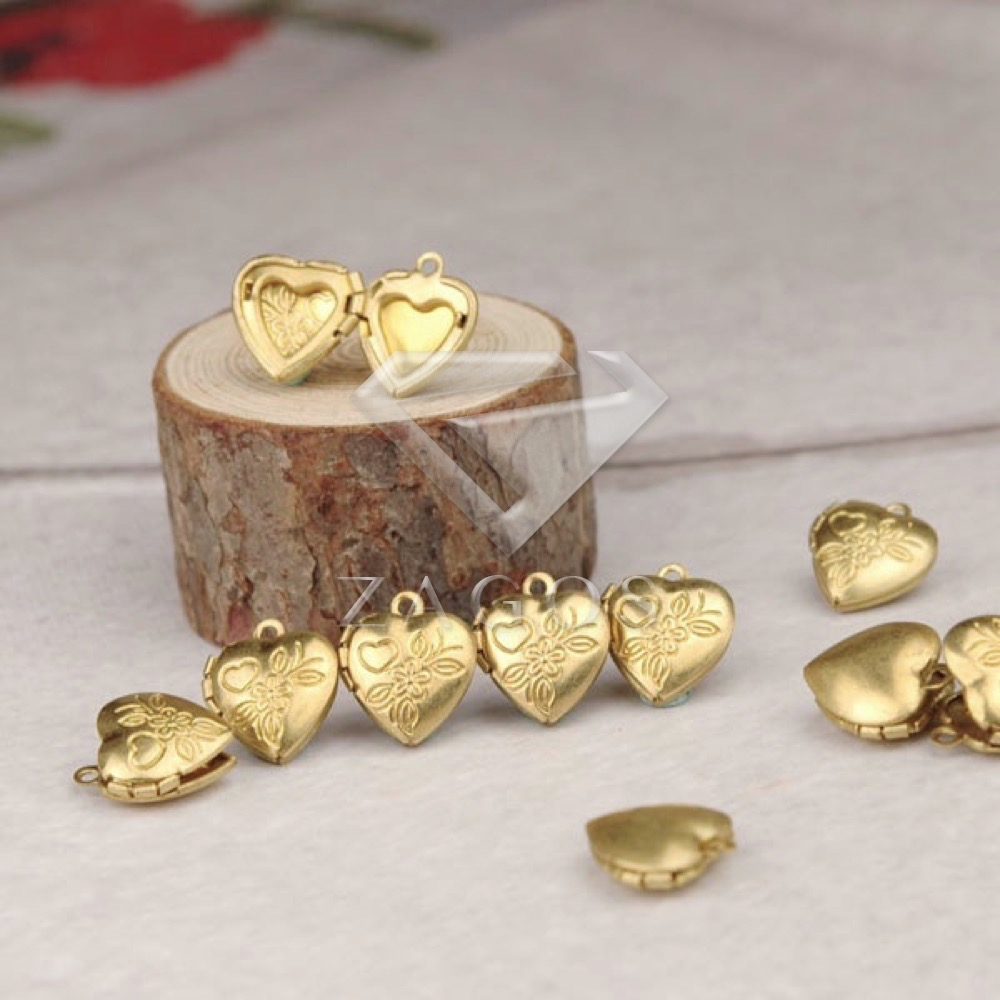 8Pcs Brass Gold 15x13x4.5mm Love Heart Wish Photo Box Pendants Jewelry Making Finding Fi ...